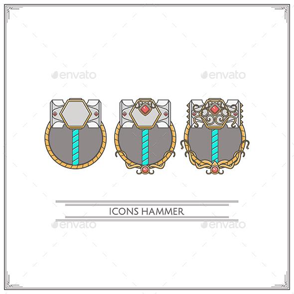 Icons Fantasy Hammer - Decorative Symbols Decorative