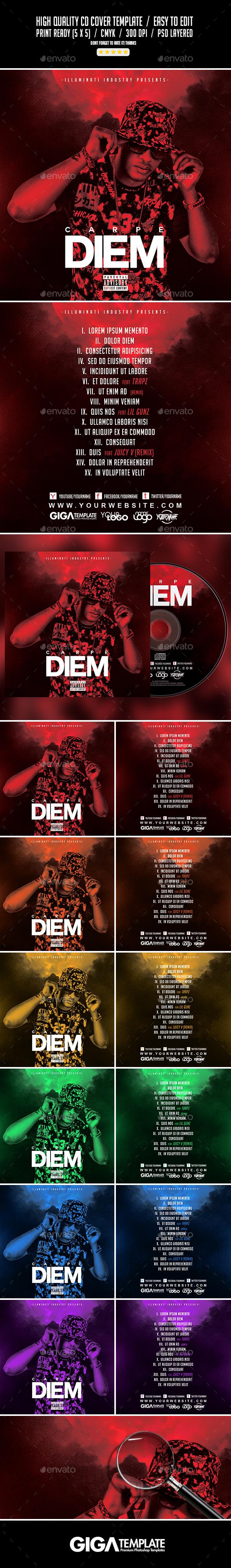 Carpe Diem | Dark Mixtape Album CD Cover Template - CD & DVD Artwork Print Templates