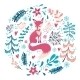 Fox with Winter Flowers and Snowflakes - GraphicRiver Item for Sale