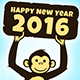 Happy Monkey Holding Happy New Year 2016 Card - GraphicRiver Item for Sale