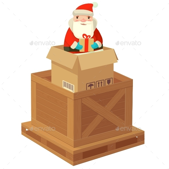 Logistic Santa Claus with a Gift - New Year Seasons/Holidays