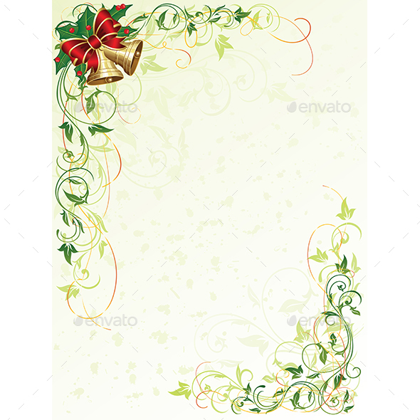 Floral Background with Bells - Christmas Seasons/Holidays