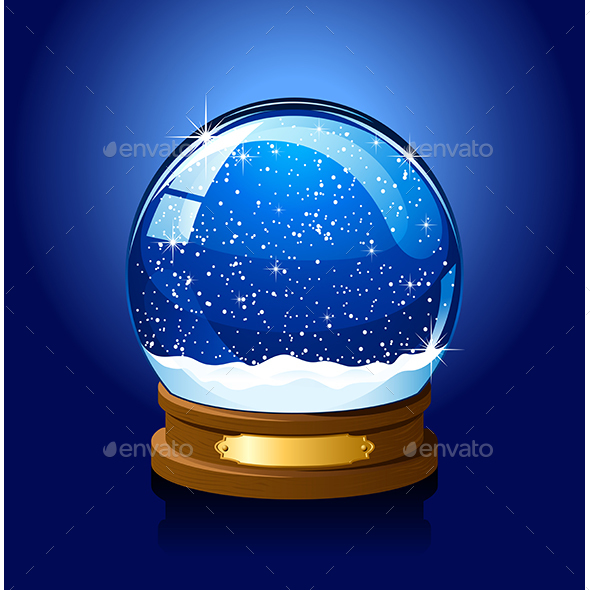 Christmas Snow Globe on Blue Background - Christmas Seasons/Holidays