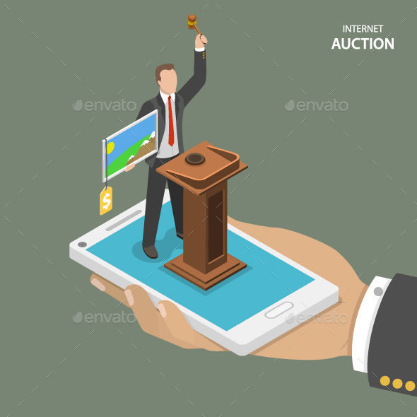 Internet Auction Isometric Flat Vector Concept - Retail Commercial / Shopping