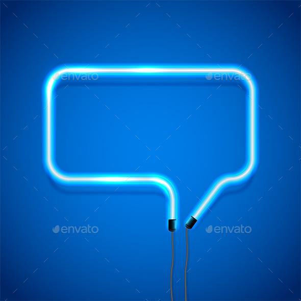 Blue Neon Speech Bubble - Borders Decorative