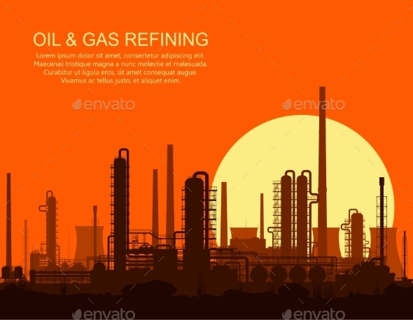 Oil Refinery At Sunset - Industries Business