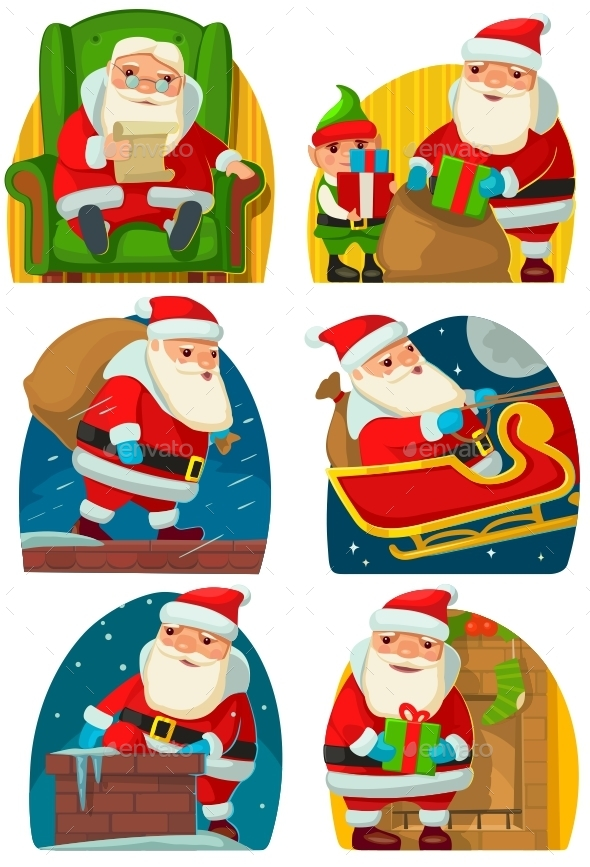 Santa Claus and Elf Deliver Gifts - Christmas Seasons/Holidays