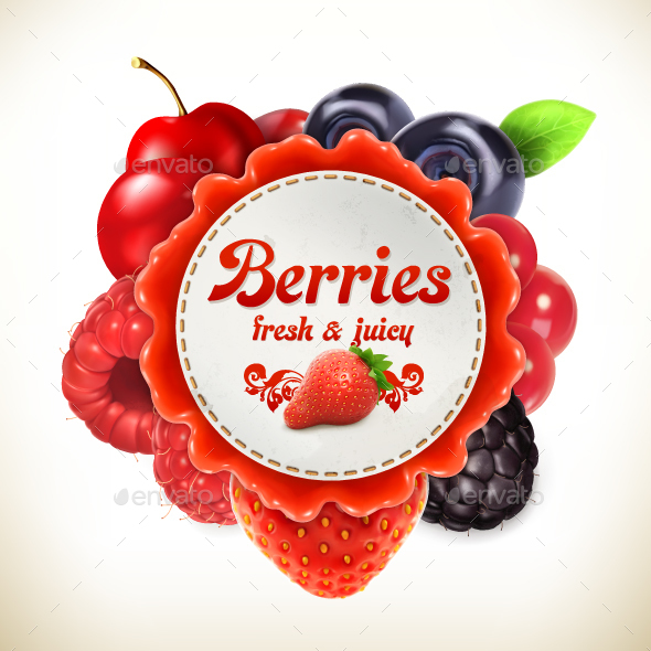 Berries Label - Food Objects