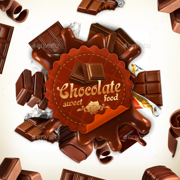 Chocolate Vector Label - Food Objects
