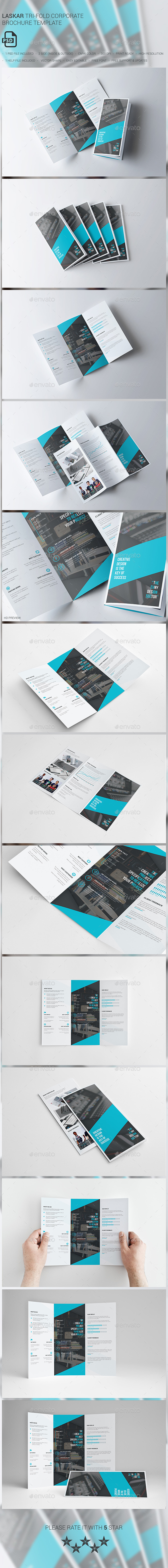 Laskar Corporate Tri-fold Brochure Template - Brochures Print Templates