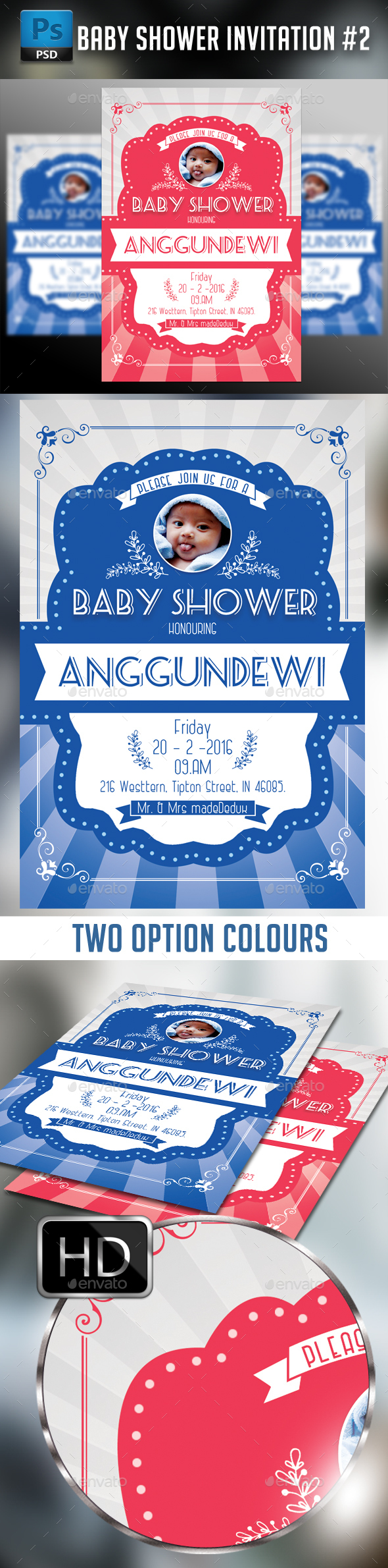 Baby Shower Invitation #2 - Cards & Invites Print Templates