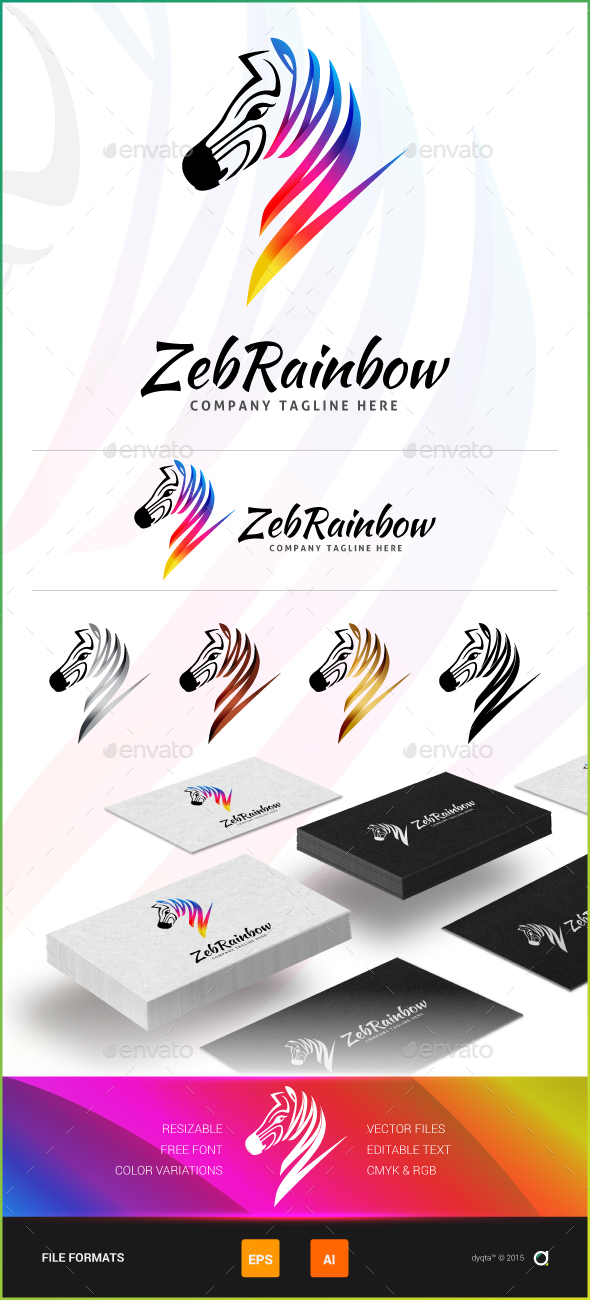 ZebRainbow Logo Template - Animals Logo Templates