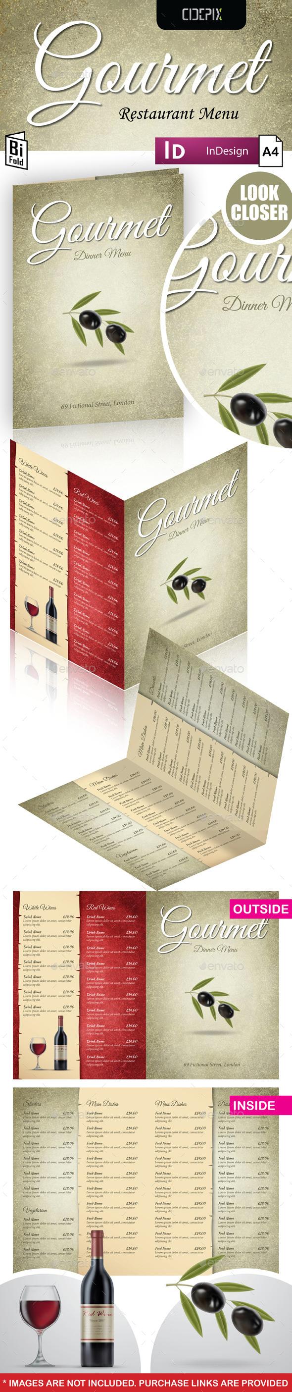 A4 Bifold Restaurant Menu Template - Food Menus Print Templates
