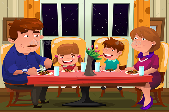 Family Eating Together - People Characters