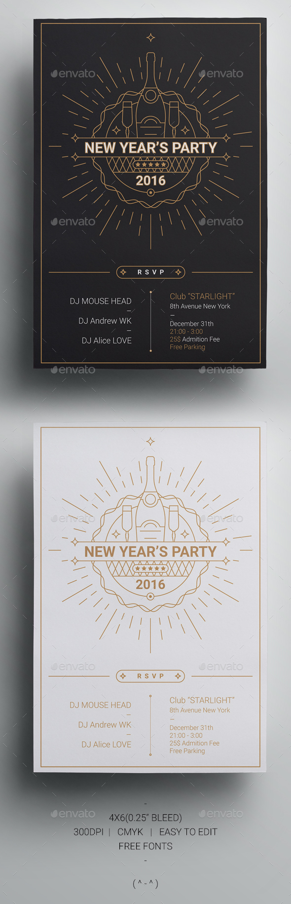 2016 New Year's Party Flyer Template - Holidays Events