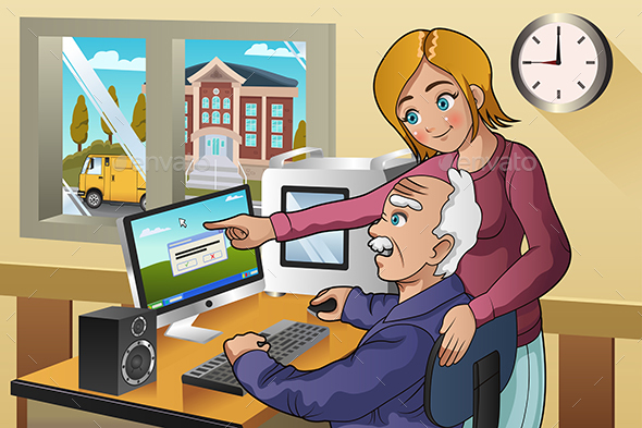 Girl Teaching Senior How to Use a Computer - People Characters