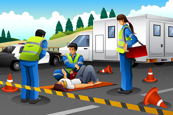 Paramedic Giving Help to an Injured Girl - Health/Medicine Conceptual