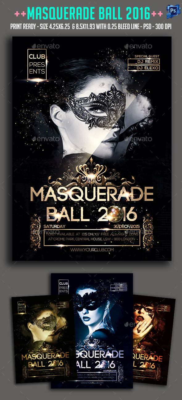 Masquerade Ball 2016 Party Flyer  - Clubs & Parties Events