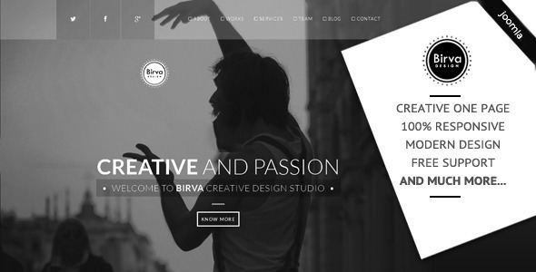 Birva – Creative One Page Joomla Theme