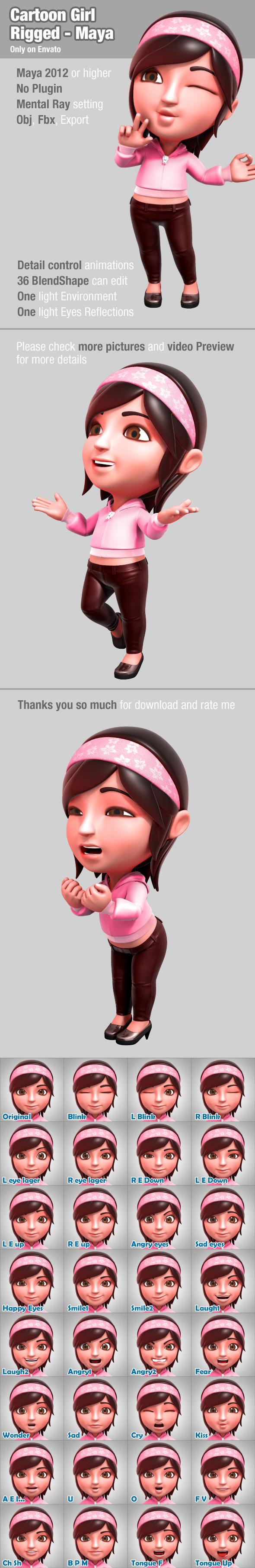 Cartoon Girl Rigged - Maya - 3DOcean Item for Sale