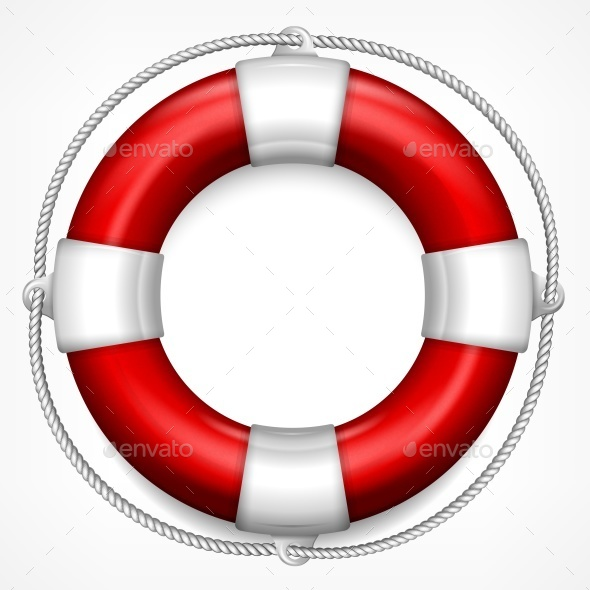 Red Life Buoy on White  - Concepts Business