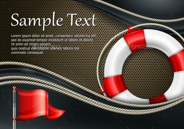 Life Buoy with Flag on Mash - Concepts Business