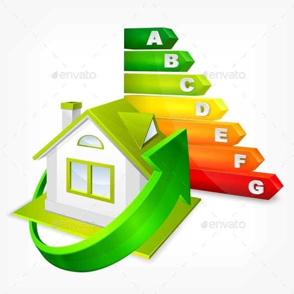 Energy Efficiency Rating with Arrows and House - Concepts Business