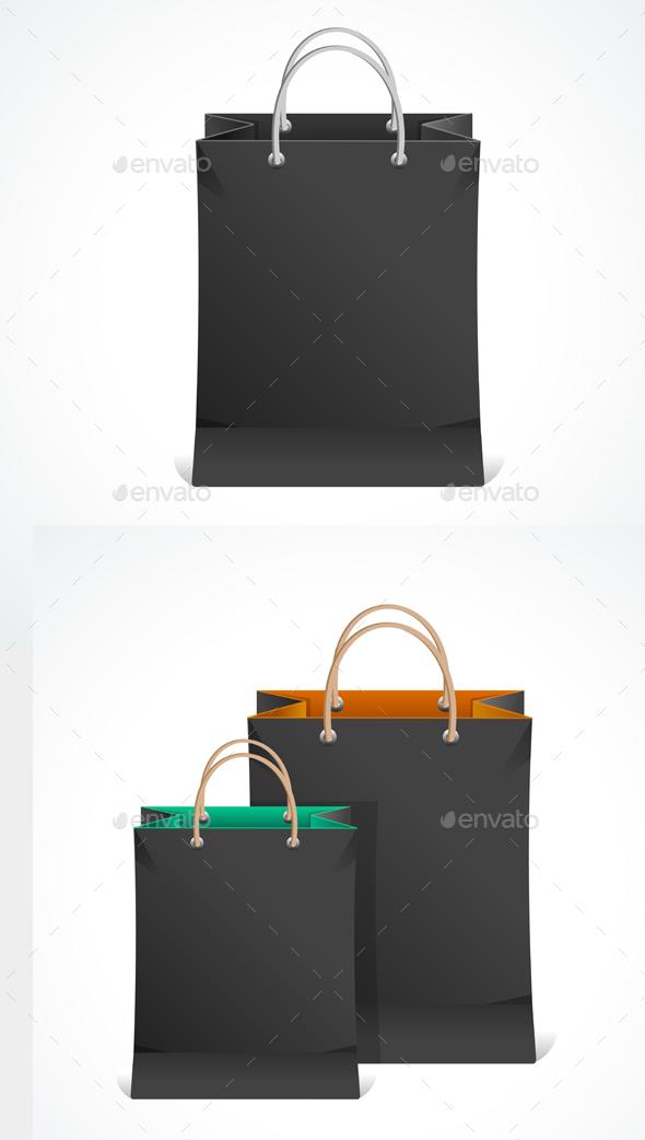 Black Paper Bag. Vector - Commercial / Shopping Conceptual