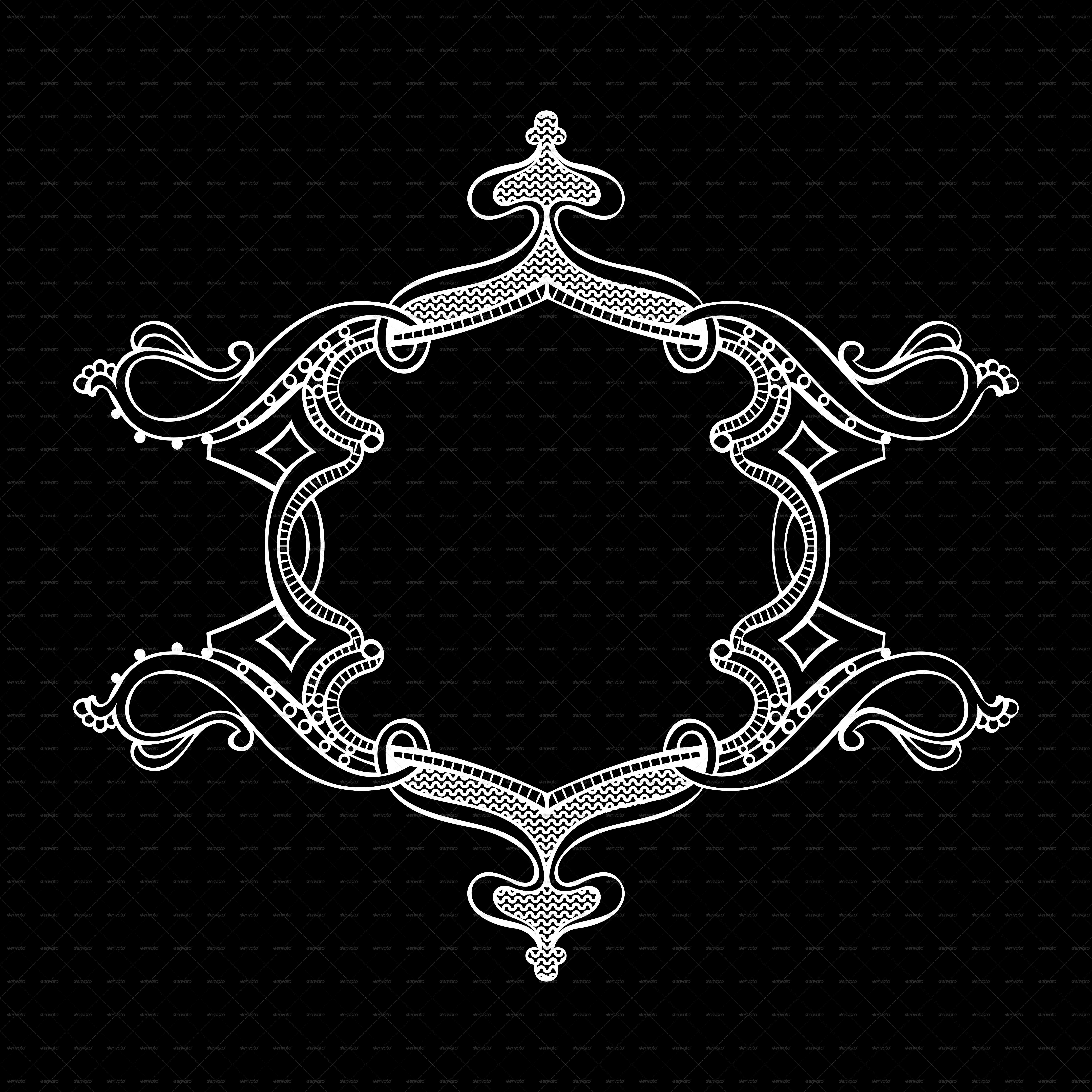 Black And White Ornate Heraldic Art Deco Quad
