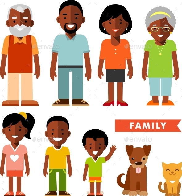 Set of African American Family - People Characters