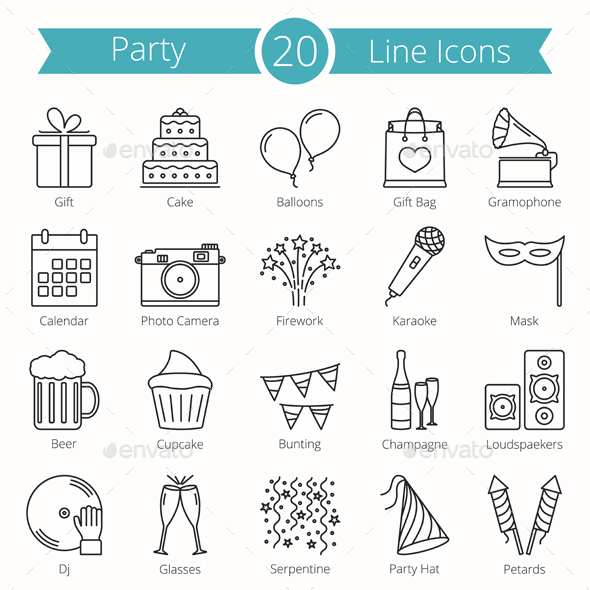 20 Party Line Icons - Miscellaneous Icons