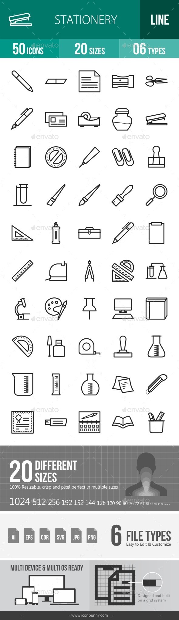 Stationery Line Icons - Icons
