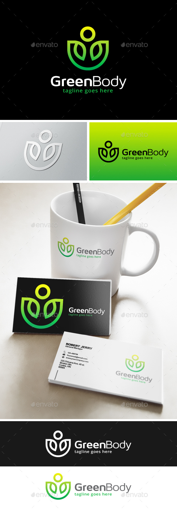 Green Body Fit Logo - Nature Logo Templates