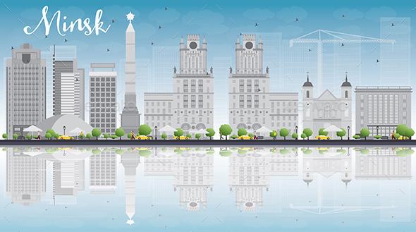 Minsk Skyline with Gray Buildings - Buildings Objects