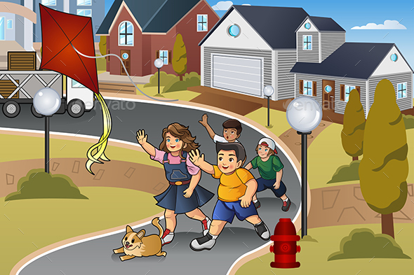Kids Chasing a Lost Kite - People Characters
