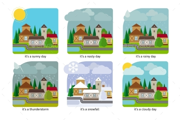 Different Weather In The Town Illustrations - Seasons Nature