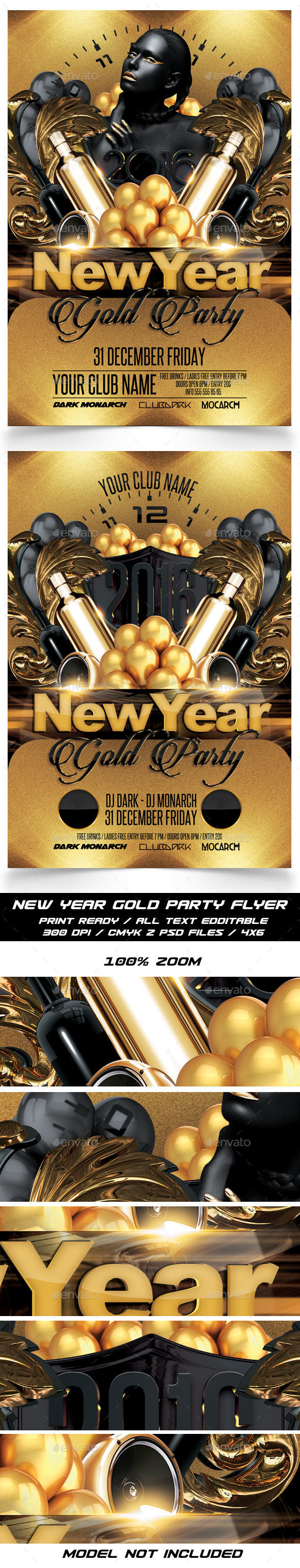 New Year Gold Party Flyer - Events Flyers