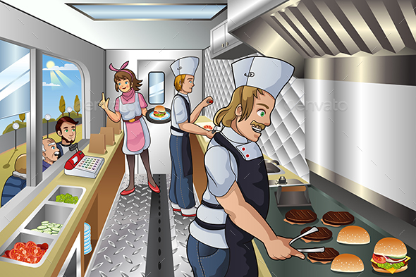 Chef Inside a Food Truck - People Characters