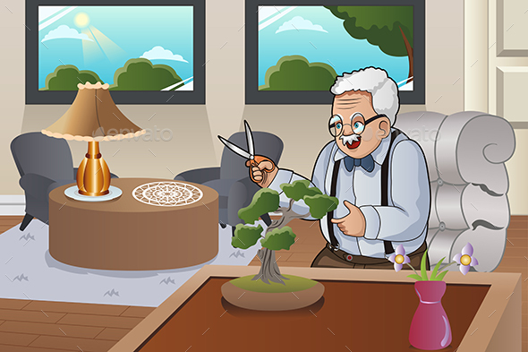 Old Man Taking Care Bonsai - People Characters