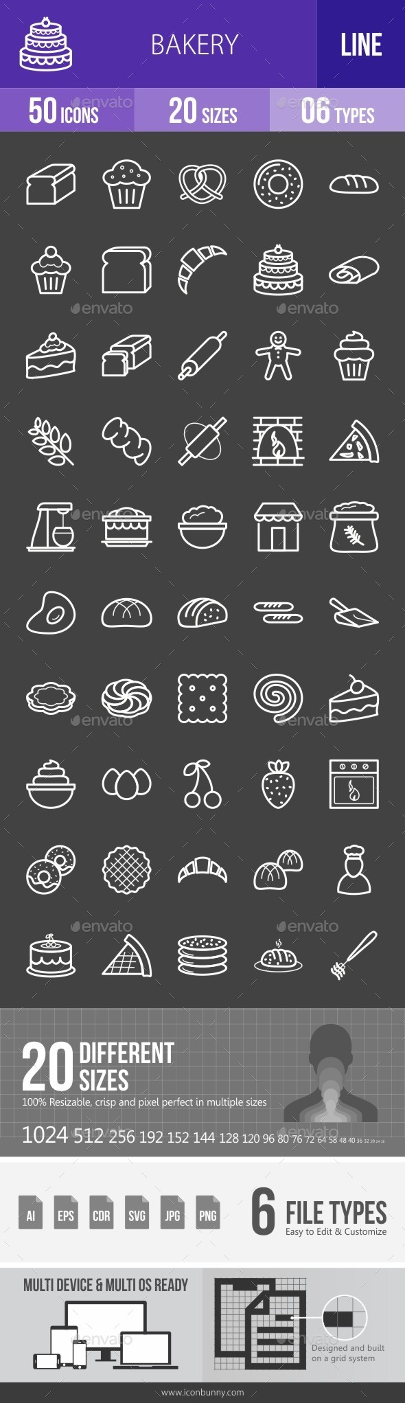 Bakery Line Inverted Icons - Icons