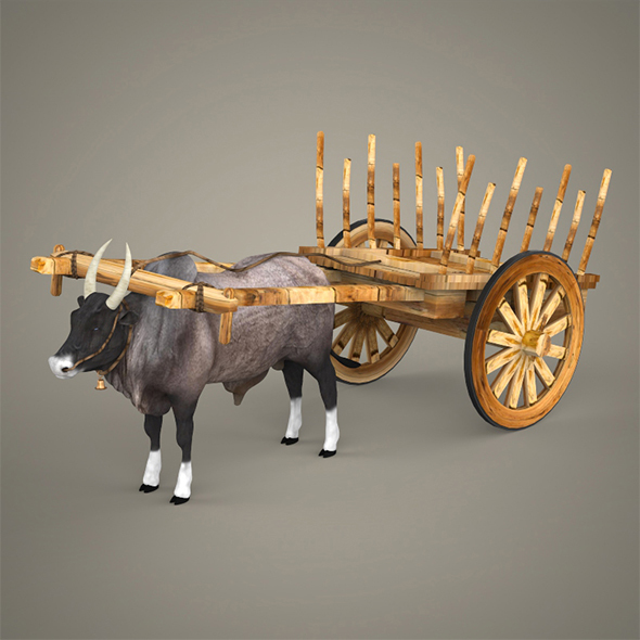 Realistic Ox Cart - 3DOcean Item for Sale