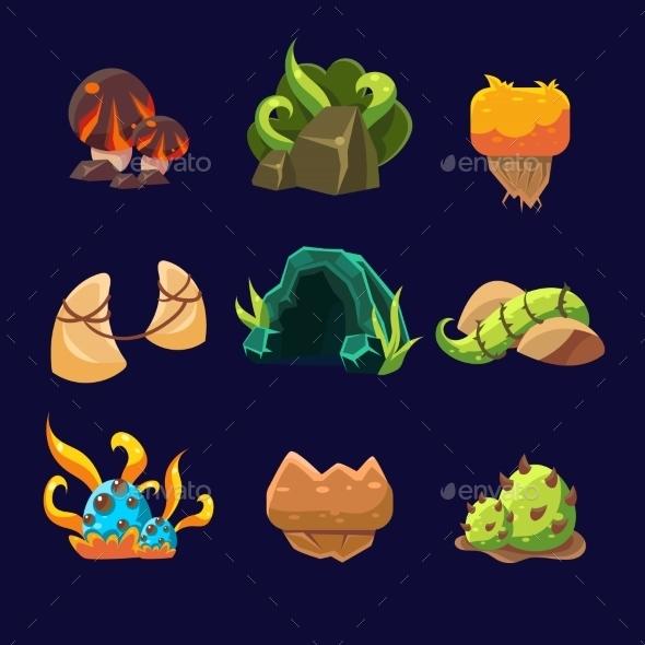 Forest Elements For Game. Vector Set - Landscapes Nature