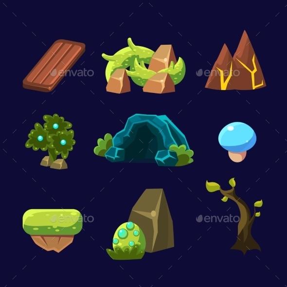 Forest Elements For Game. Vector Illustration Set - Landscapes Nature