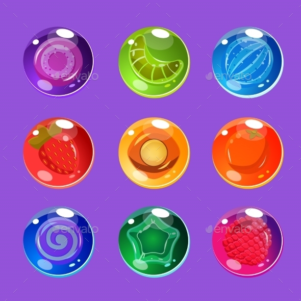 Bright Colorful Glossy Candies With Sparkles - Miscellaneous Vectors