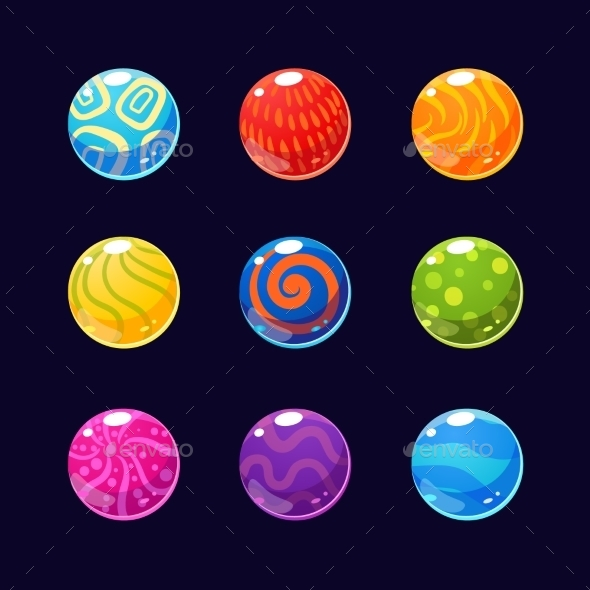 Colorful Glossy Stones And Buttons With Sparkles - Miscellaneous Vectors