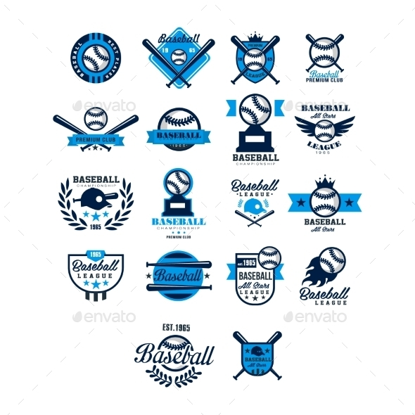 Vector Set Of Baseball Badge Collection - Sports/Activity Conceptual
