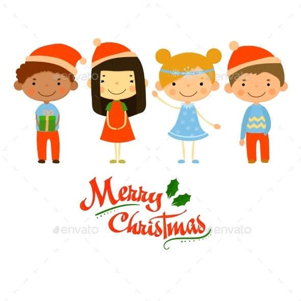Cute Kids And Christmas Elements Vector - Christmas Seasons/Holidays