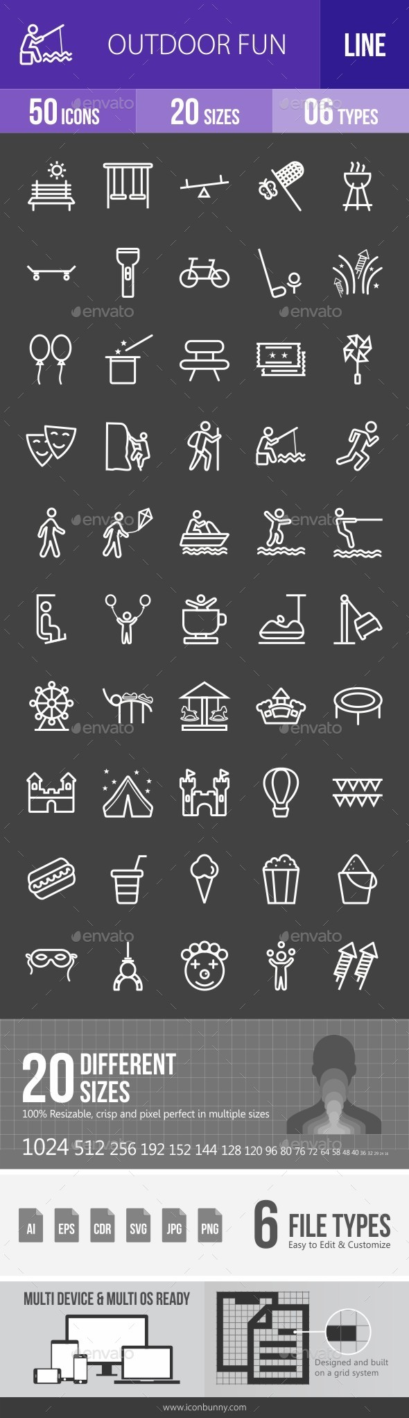 Outdoor Fun Line Inverted Icons - Icons