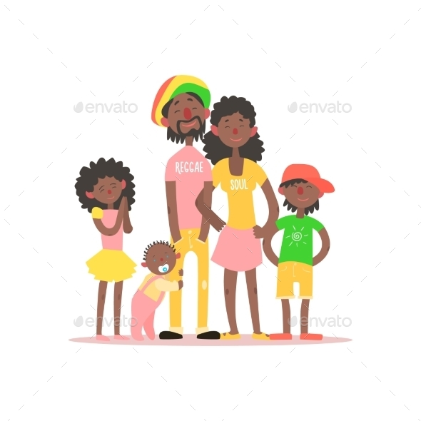 African Family. Vector Illustration - People Characters