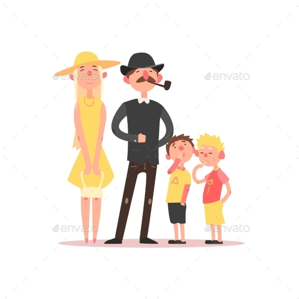 Family With Parents Wearing Hats. Vector - People Characters